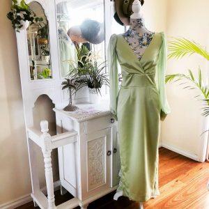 Cream green satin dress