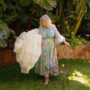 Turquoise wraparound dress