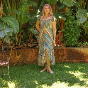 Striped, floaty dress with frill detail