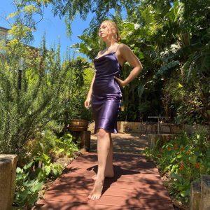 Dusty purple satin cocktail dress