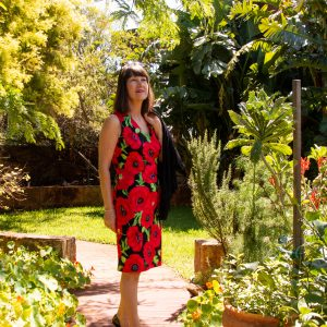 Red and black floral straight dress