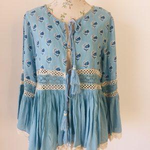 Blue cotton lace cardigan