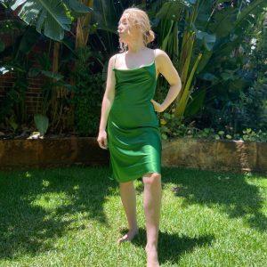 Warm green cocktail dress